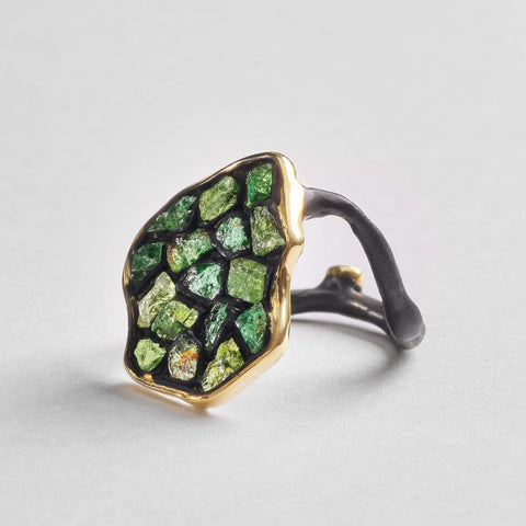 Aradia Green Ring, Anthracite, black, Gold, Handmade, spo-disabled, StoneColor:Green, Style:Everyday, Tsavorite, Type:StainedGlass Ring