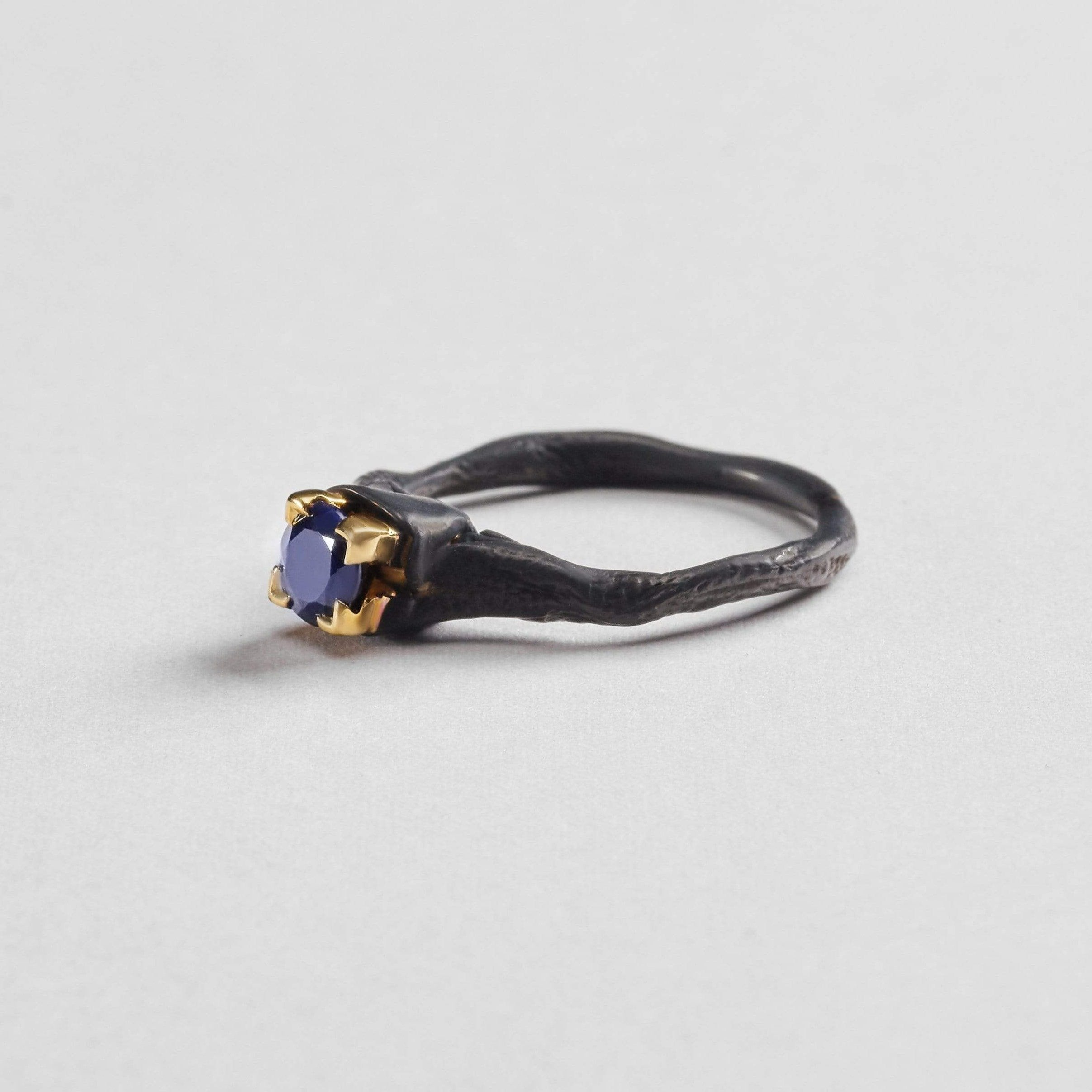 Rhiamon Ring, Anthracite, black, Gold, Sapphire, Serial, spo-disabled, StoneColor:DeepBlue Ring
