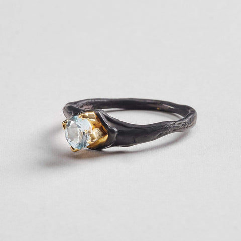 Haimi Ring, Anthracite, black, Gold, Serial, StoneColor:Blue, Topaz Ring