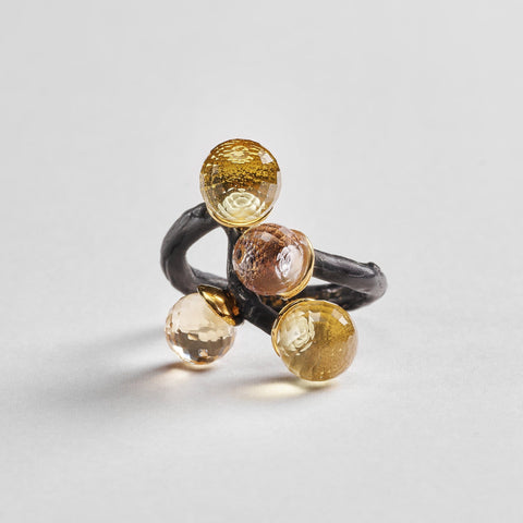 Sarai Ring, Amethyst, Anthracite, black, Citrine, Gold, Quartz, Serial, spo-disabled, StoneColor:Yellow Ring