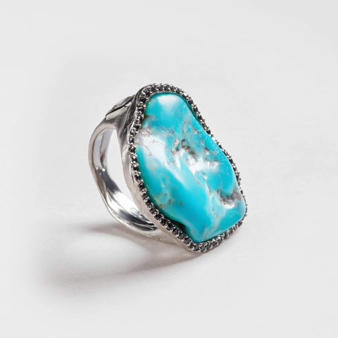 Lyia Turquoise and Black Spinel Ring