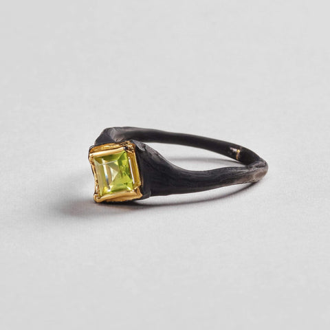 Nitika Ring, Anthracite, black, Gold, Peridot, Serial, spo-disabled, StoneColor:Green Ring