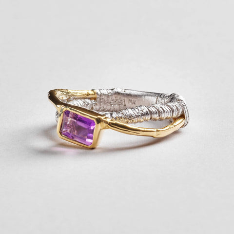 Arella Ring, Amethyst, Gold, Rhodium, Serial, silver, spo-disabled, StoneColor:purple Ring