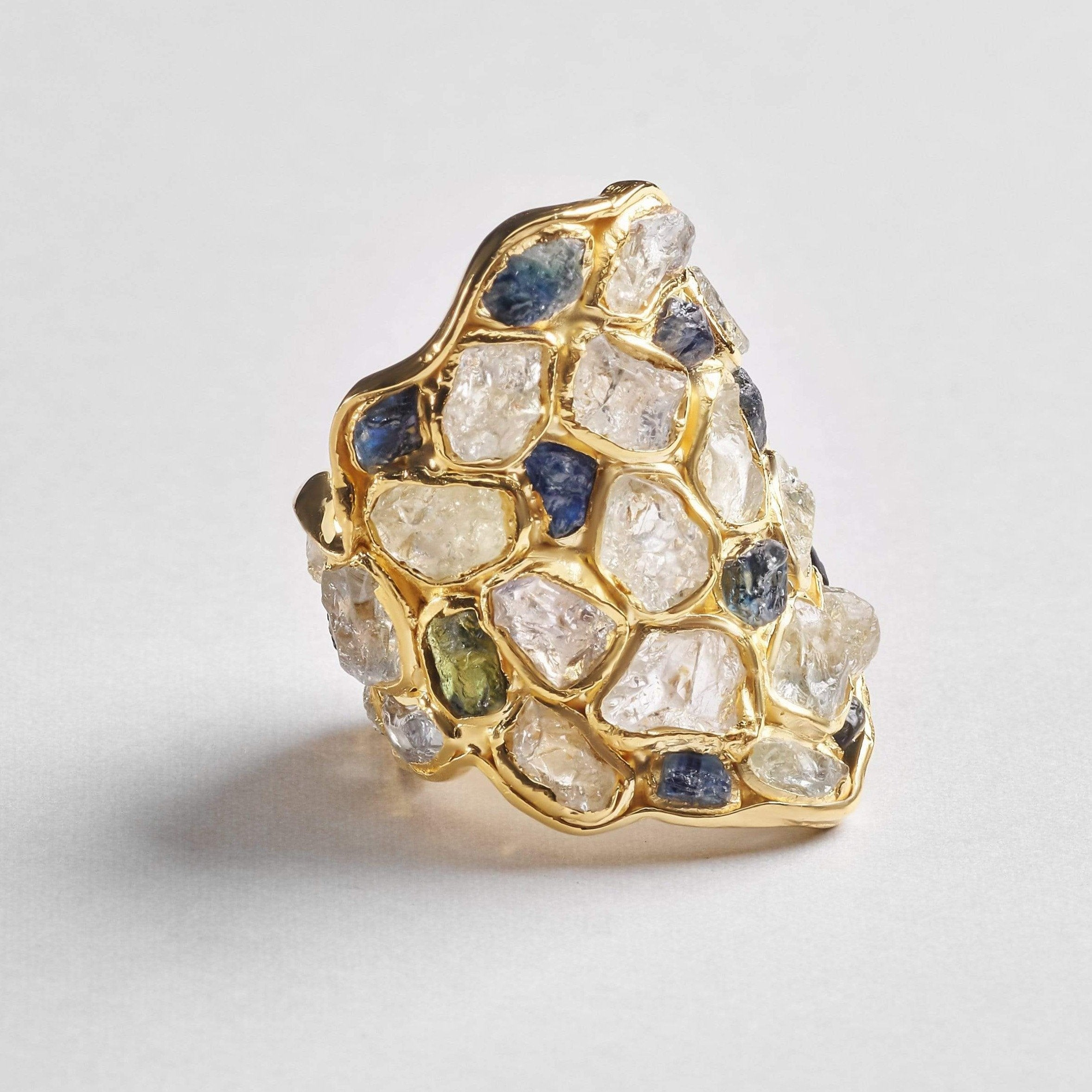 Nerissa White Ring, Gold, Handmade, Sapphire, spo-disabled, StoneColor:Blue, StoneColor:PastelColor, Style:Everyday, Type:StainedGlass Ring