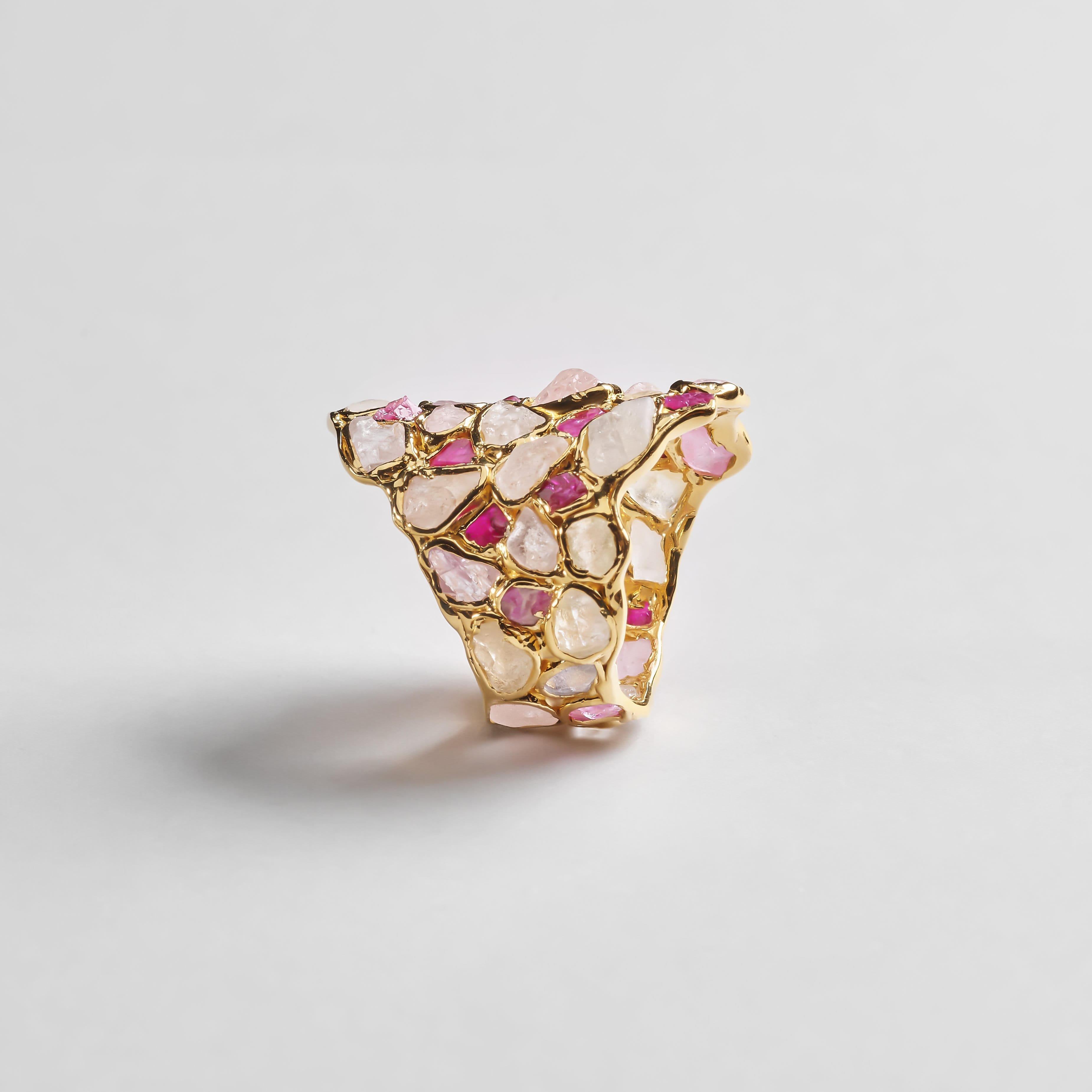 Nerissa Ring, Gold, Handmade, Ruby, Sapphire, spo-disabled, StoneColor:Pink, Style:Everyday, Type:StainedGlass Ring
