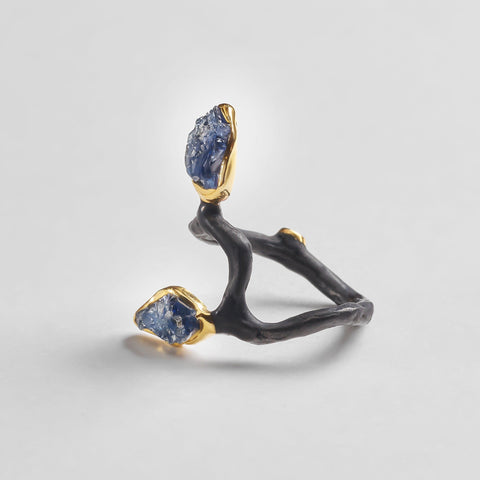 Evanora Ring, Anthracite, black, Gold, Handmade, Sapphire, spo-disabled, StoneColor:DeepBlue, Style:Delicate, Type:BlackAnthracite, Type:StoneCandyDelicate, Type:StoneCandyOut Ring
