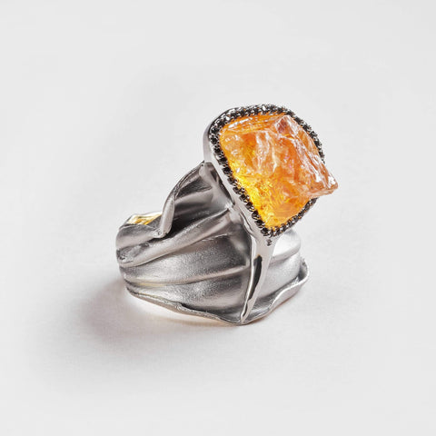 Rei Citrine and Black Spinel Ring