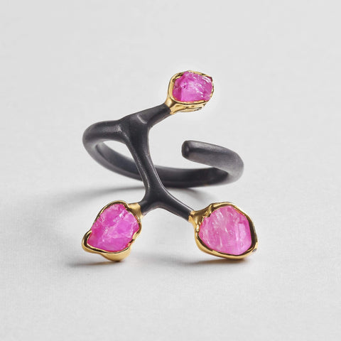 Radella Pink Ring, Anthracite, black, Chrysoberyl, Gold, Handmade, spo-disabled, StoneColor:Yellow, Style:Fantasy, Type:BlackAnthracite, Type:StoneCandyOut Ring