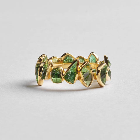 Livia Green Ring, Gold, Handmade, spo-disabled, StoneColor:Green, Style:Delicate, Tsavorite, Type:StoneCandyDelicate Ring