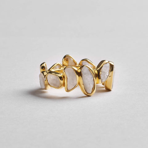 Livia White Ring, Gold, Handmade, Sapphire, spo-disabled, StoneColor:White, Style:Delicate, Type:StoneCandyDelicate Ring