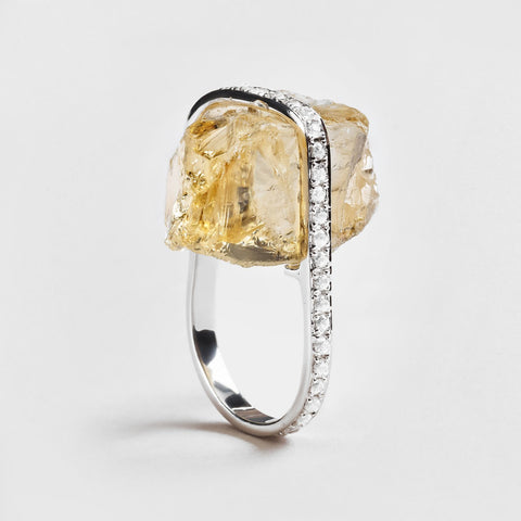 Abelia Citrine and Zircon Ring