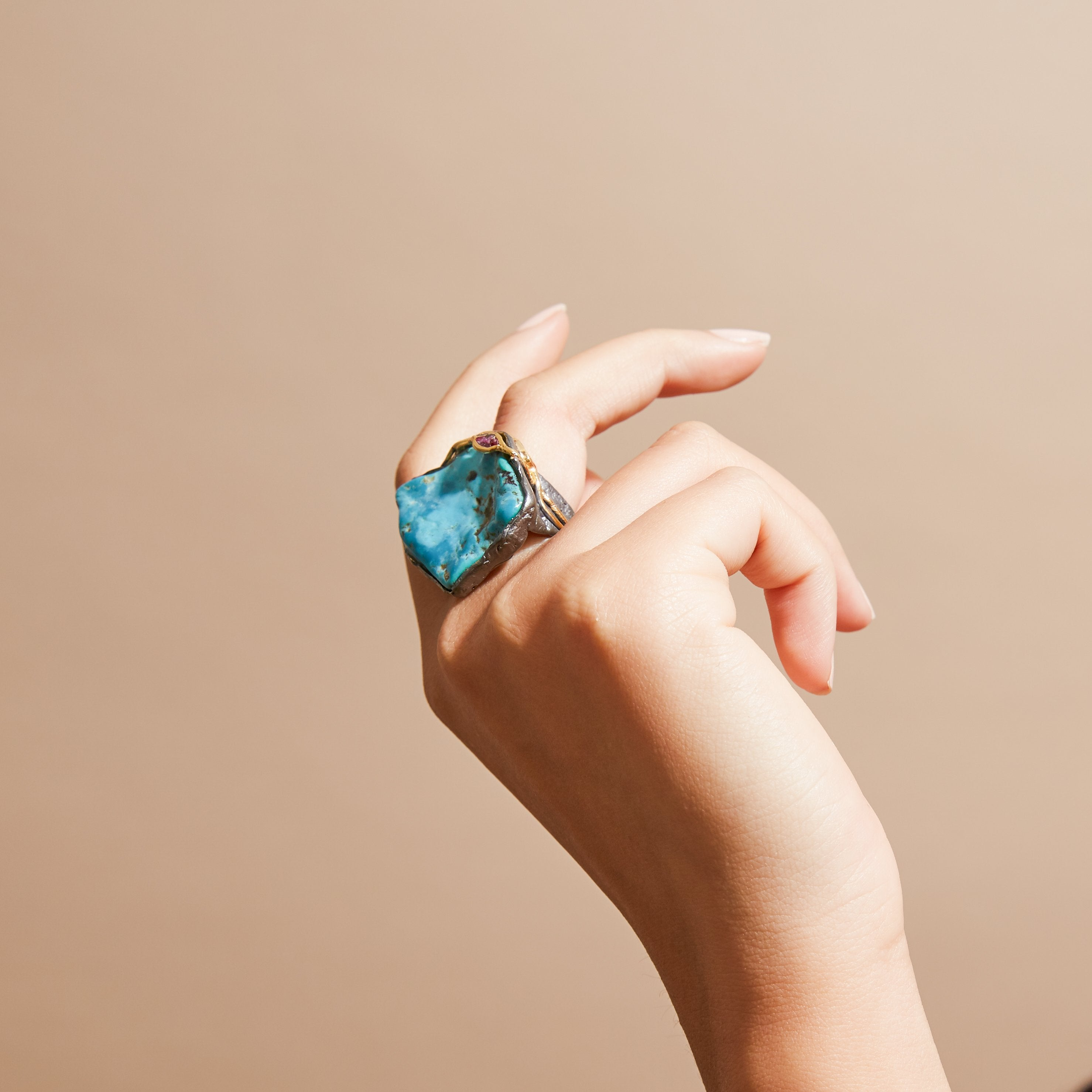Phile Turquoise and Ruby Ring