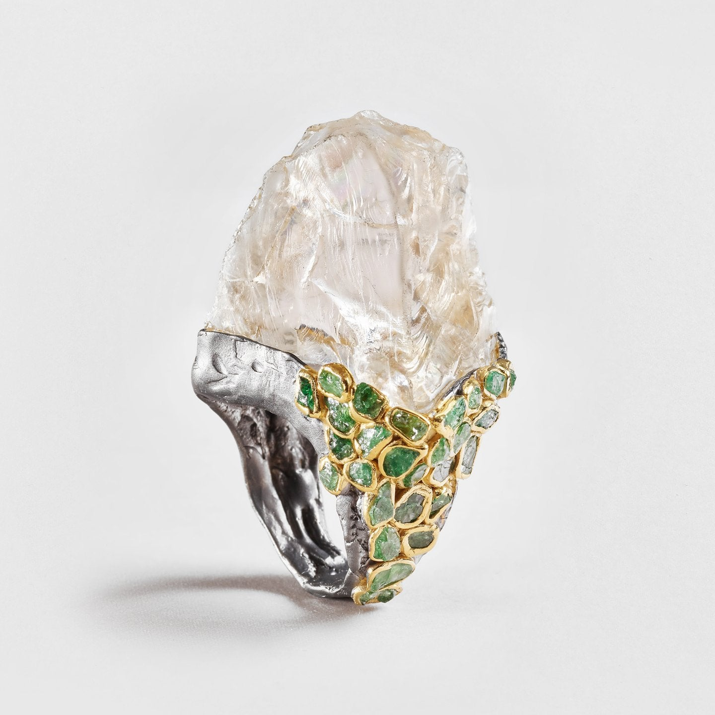 Dareia Quartz and Tsavorite Ring