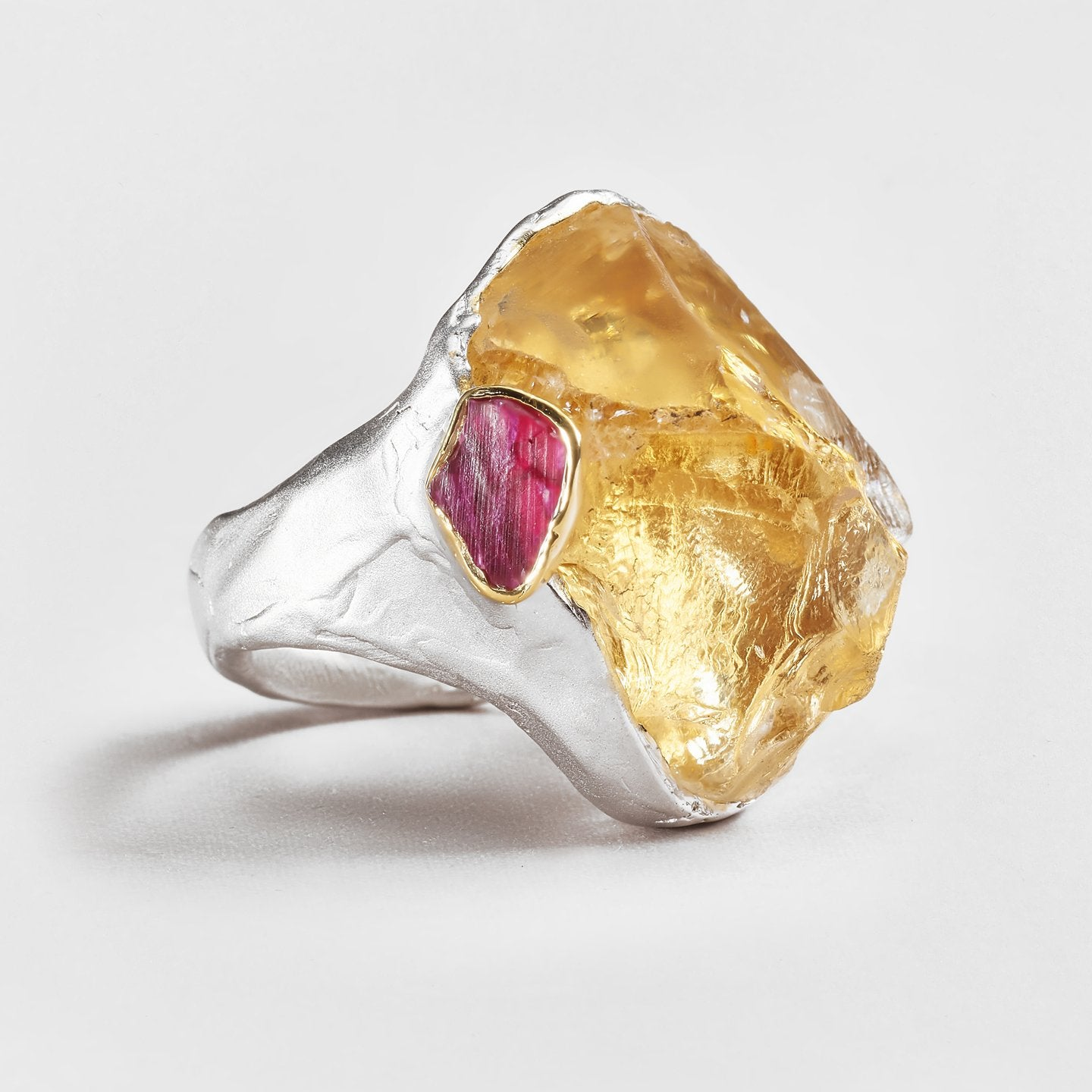 Aleta Citrine and Ruby Ring
