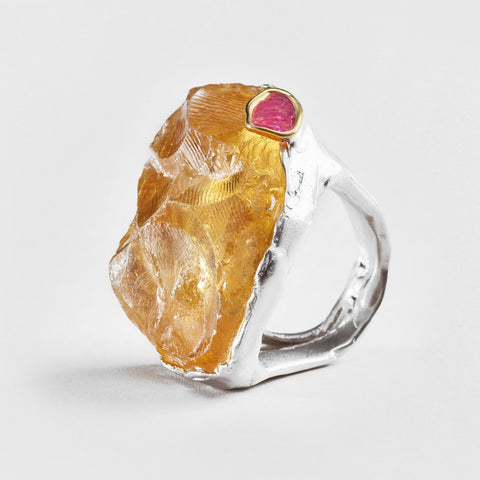 Elam Citrine and Ruby Ring