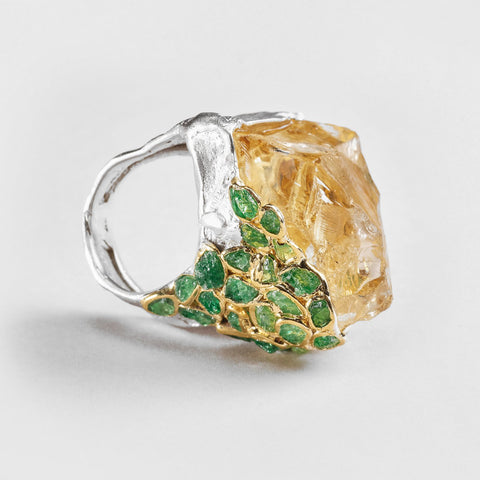 Sadon Citrine and Tsavorite Ring