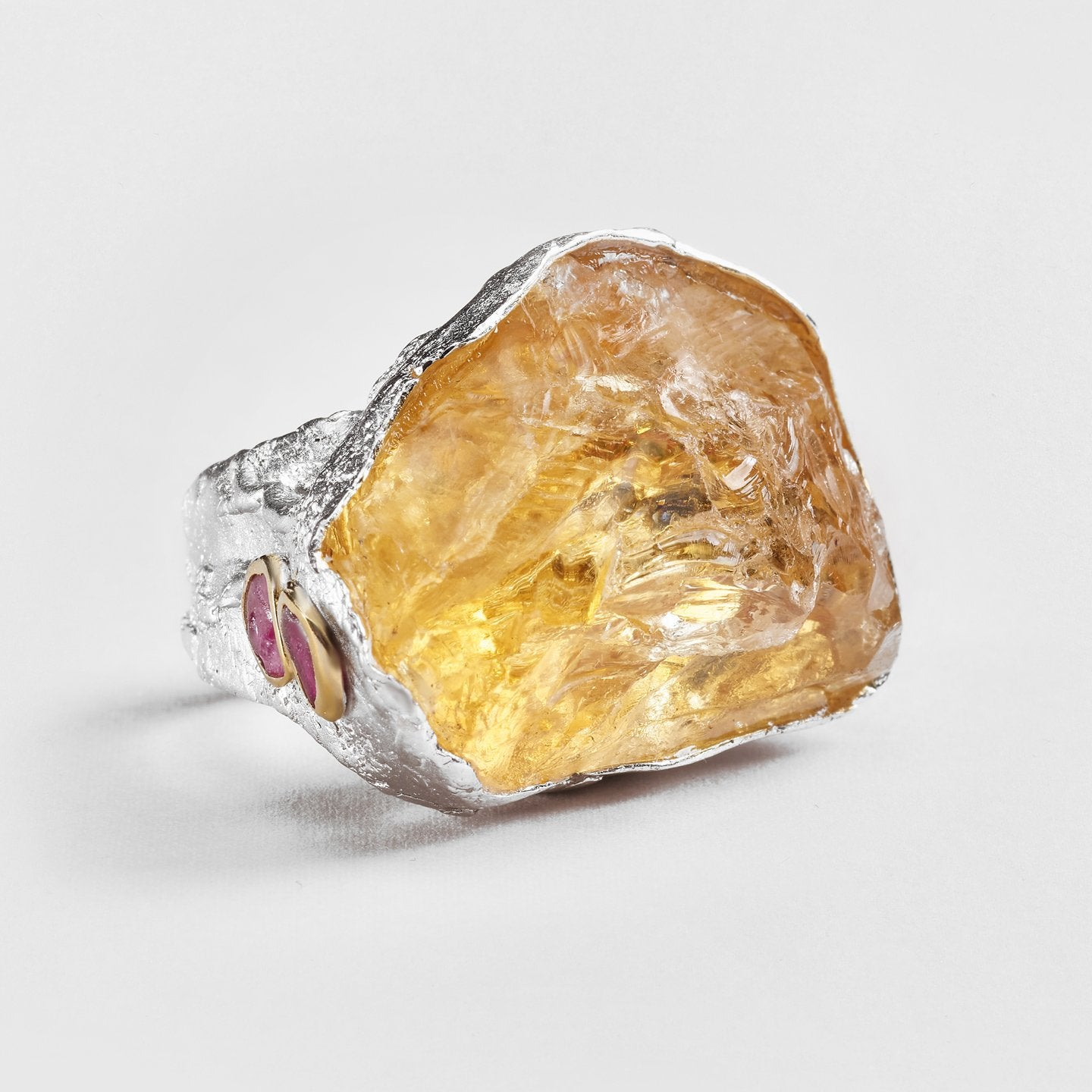 Idla Citrine and Ruby Ring