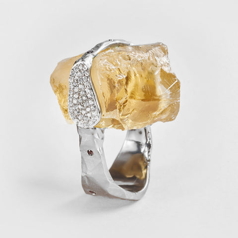 Afric Citrine and Zircon Ring