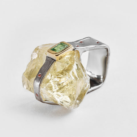 Bida Citrine and Tourmaline Ring