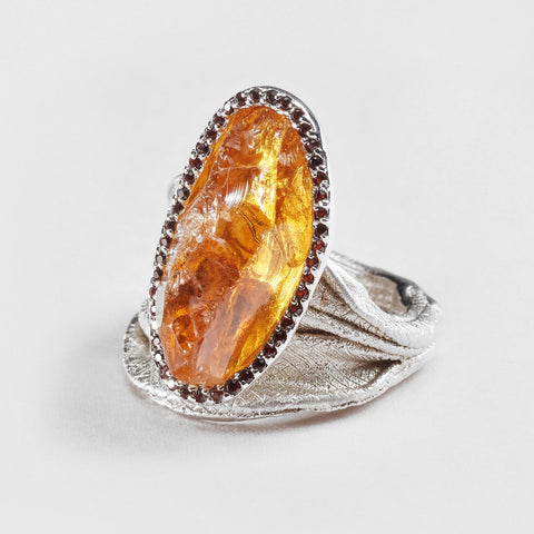 Josa Citrine and Garnet Ring
