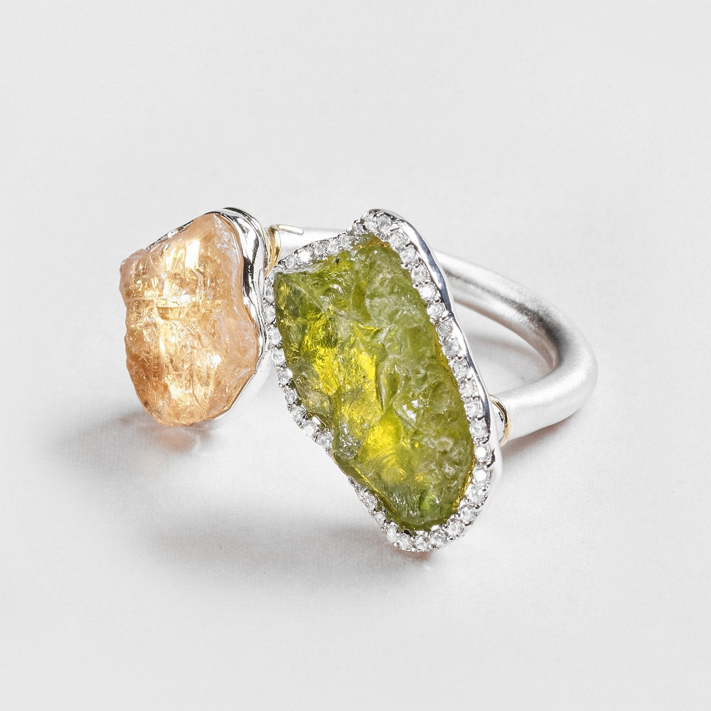 Adilya Peridot and Quartz Ring