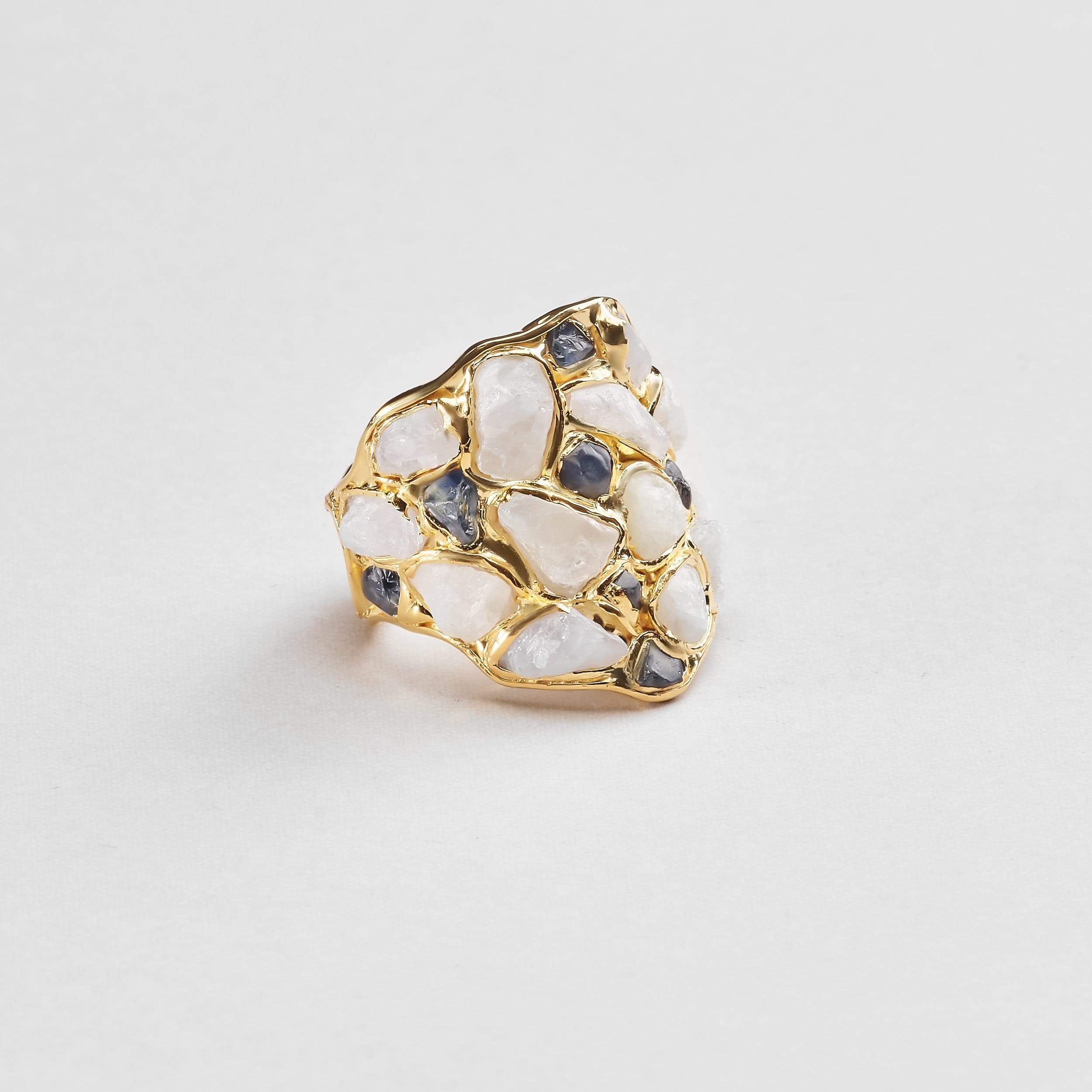 Nerissa White and Blue Sapphire Ring
