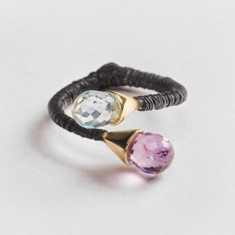 Kahinra Amethyst and Blue Topaz Ring