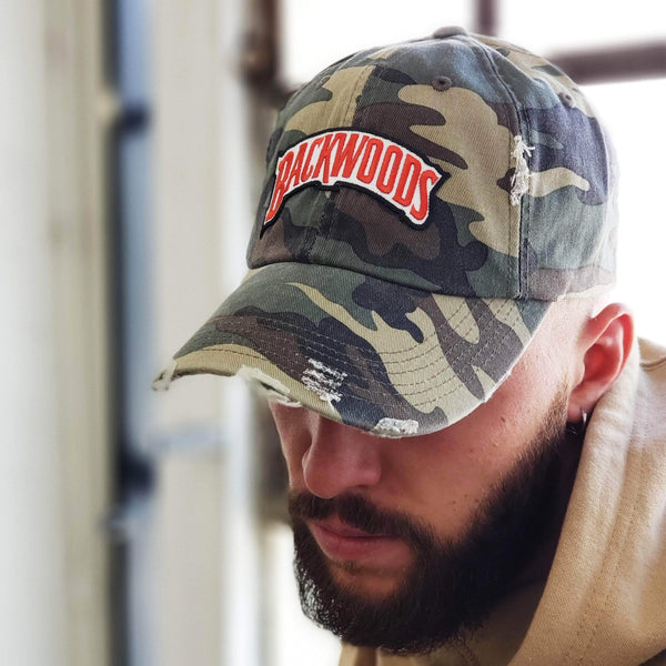 Embroidered Backwoods  Camo Distressed Dad Hat - The New Urban Thrifters