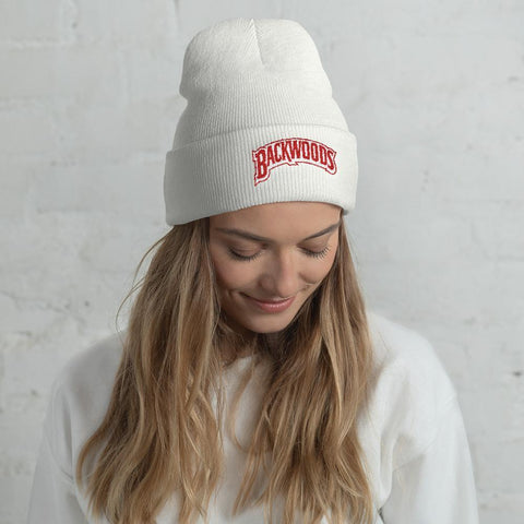 Special Edition Red and White Embroidered Backwoods Beanie Unisex - The New Urban Thrifters