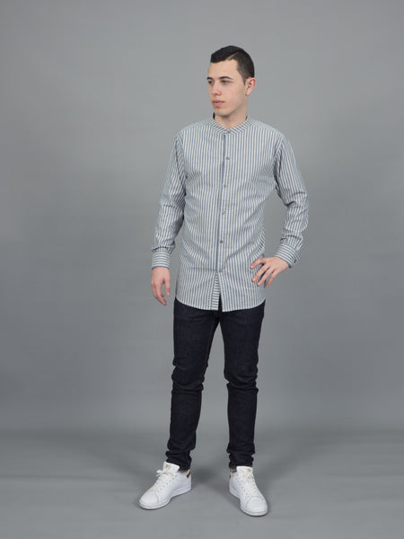 Mandarin stripe (Grey, Long Sleeve, แขนยาว)