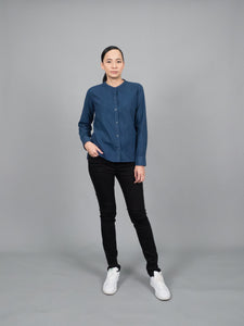 Mandarin Collar (Indigo Blue, Long sleeve, แขนยาว)