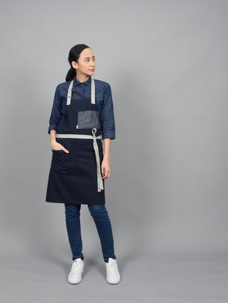 Indigo work shirt  (Indigo Blue, 3/4 sleeve, แขน3/4)