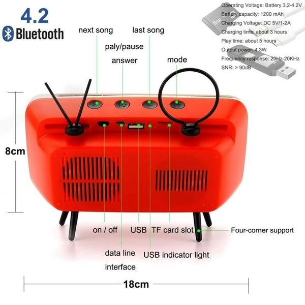 【Hot Sale】Last day promotion ·Retro TV Bluetooth Speaker+ Mobile Phone Holder