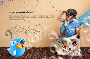 【Hot Sale】Electric Dolphin Shaped Bubble Machine Toy with Music - Blue
