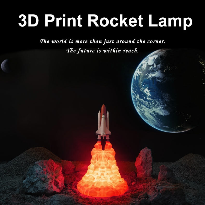 【Factory Outlet】3D Print Space Shuttle Lamp Night Light For Space Fans Now  50% off and free shipping