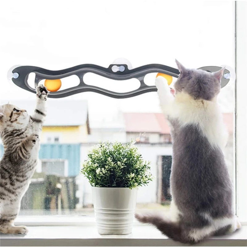 【Hot Sale】WINDOW MOUNTED TRACK BALL TOY FOR CATS. Limited time promotion