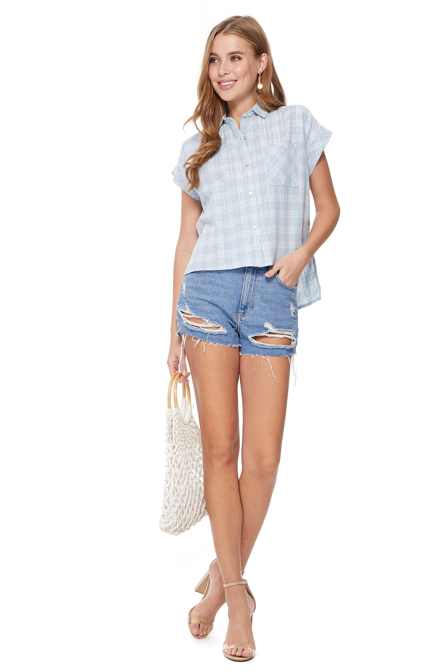 Zelie Top in Crème/Blue/Silver Plaid
