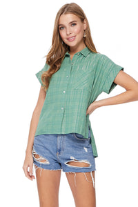 Zelie Top in Sage/Blue/Silver Plaid