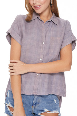 Zelie Top in Mauve/Blue/Silver Plaid