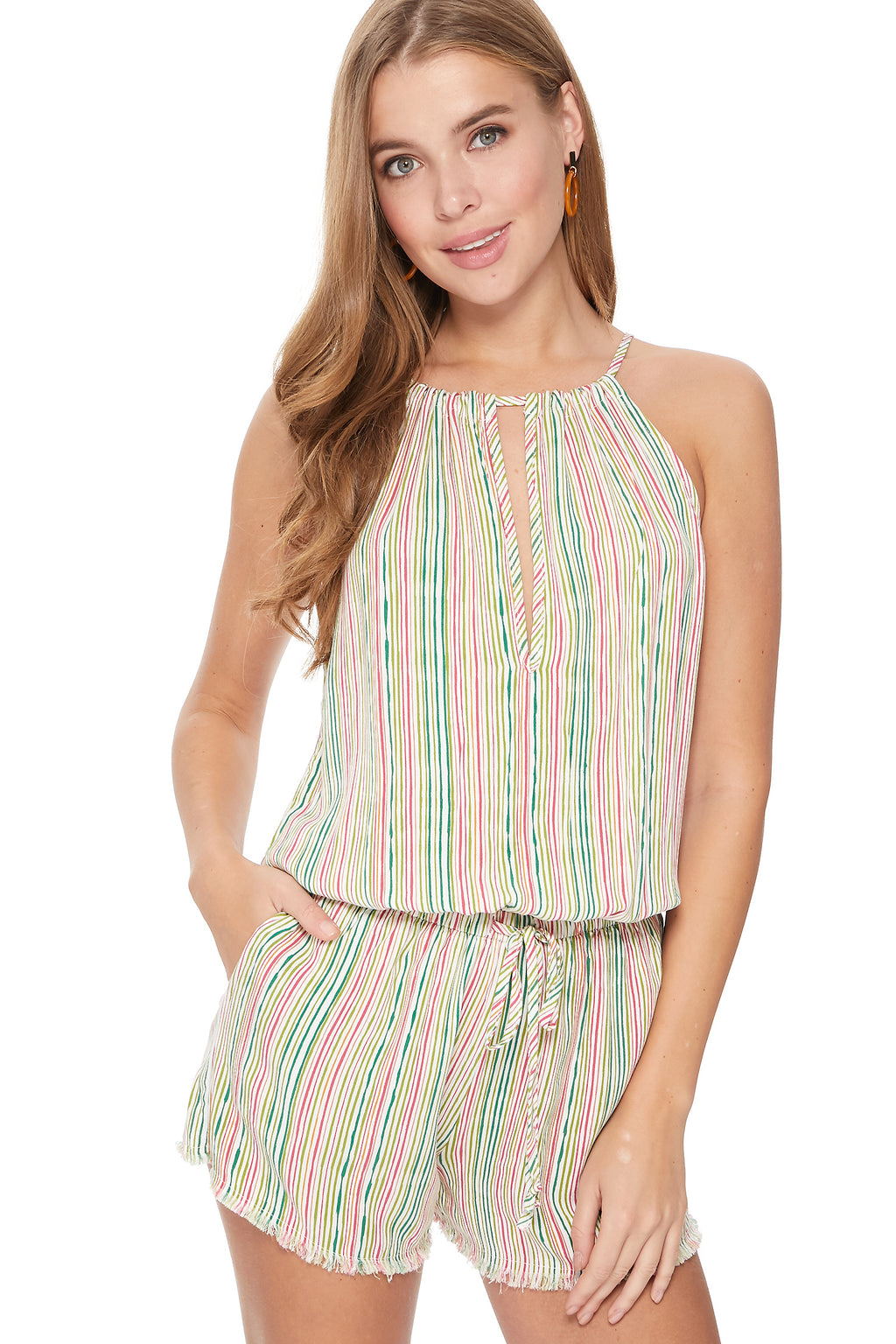 Maya Romper in Candy Stripes