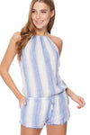 Maya Romper in Creme/Blue Stripes