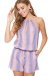 Maya Romper in Mauve/Blue Stripes