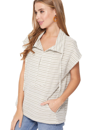 Taylor Pancho in White/Grunge/Gold Stripes
