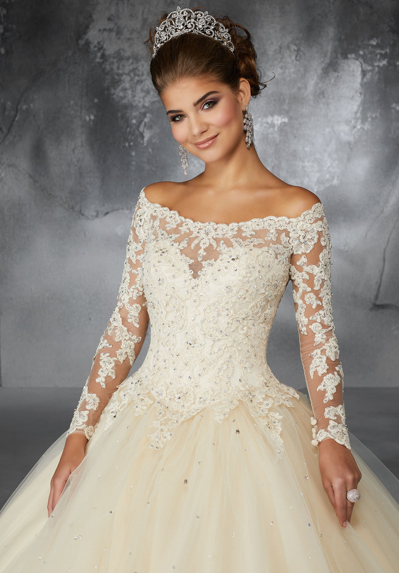 Cynthia on a Beaded Lace Appliqués - MoriLee #60052