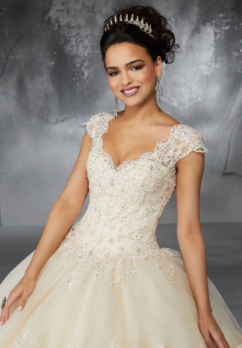 Vickie on a Lace Trimmed Skirt Flounce - MoriLee #60055