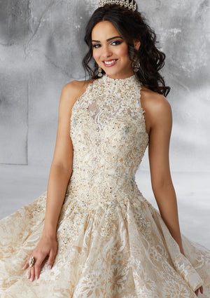 Victoria on a Beaded Lace Appliques - MoriLee #89184