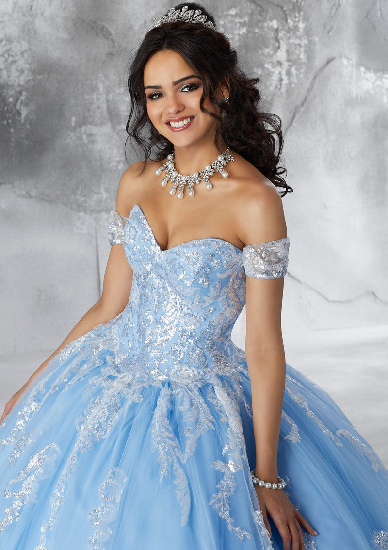 Ivory/Blush Sweetheart Neckline Ball Gown Quinceanera Dress www.quinceofyourdreams.com