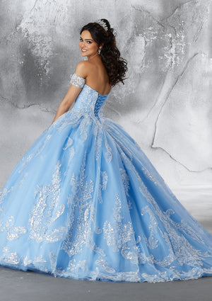 Ivory/Bahama Blue Sweetheart Neckline Ball Gown Quinceanera Dress www.quinceofyourdreams.com