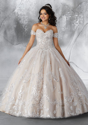 Ivory/Nude Sweetheart Neckline Ball Gown Quinceanera Dress www.quinceofyourdreams.com