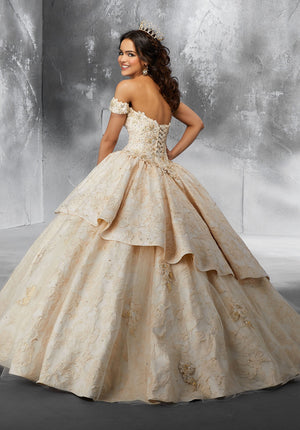 Mary on Tulle Skirt Overlay and Brocade Flounce - MoriLee #89193